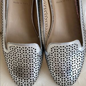 💥J.CREW CLEO PERFORATED SILVER LOAFERS